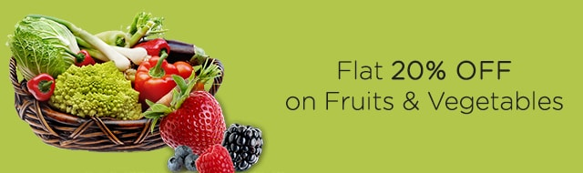 Flat 20%Off on Fruits & Vegetables